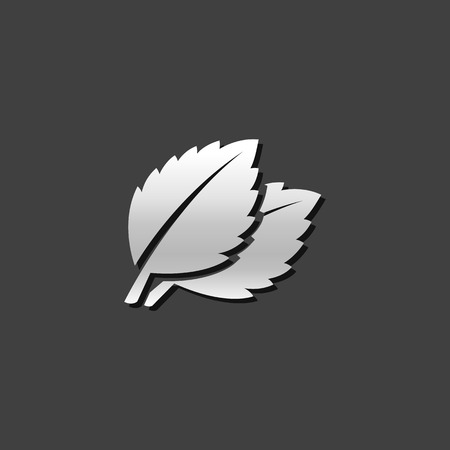 Basil leaves icon in metallic grey color style. Food cooking ingredient