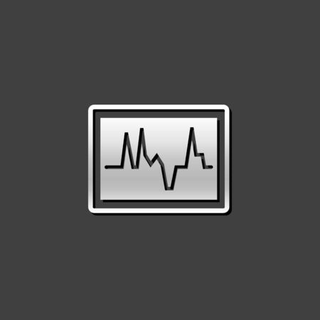 pulsating: Heart rate monitor icon in metallic grey color style. Medical health care digital Illustration