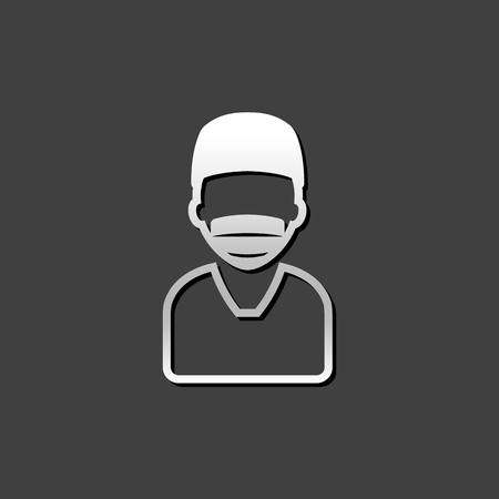 Surgeon icon in metallic grey color style.Medical surgery doctor operation