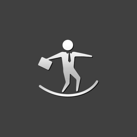 shiny metal: Businessman challenge icon in metallic grey color style. Illustration