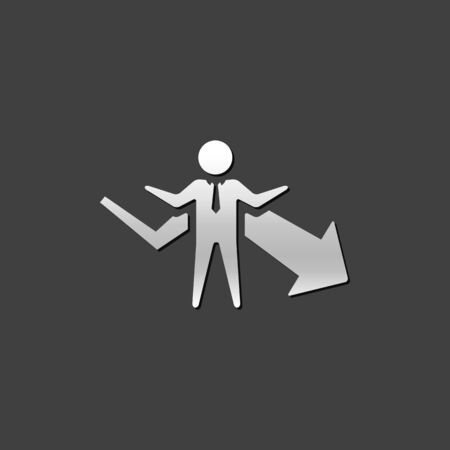 Businessman chart icon in metallic grey color style. Business finance growth Illustration
