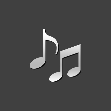 crotchets: Music notes icon in metallic grey color style. Musical crotchets quaver