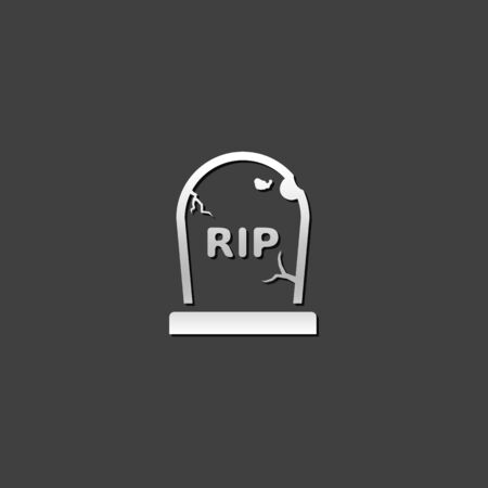 shiny: Tomb stone icon in metallic grey color style.Monument dead Halloween spooky