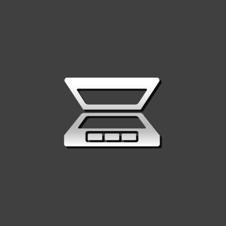website: Scanner icon in flat style color. Electronic business document