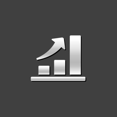 rate: Bar chart icon in metallic grey color style. Finance report banking growth Illustration
