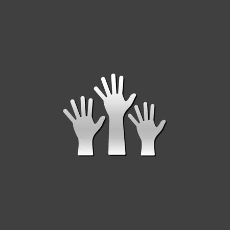 metallic: Hands icon in metallic grey color style. Family care kids parents
