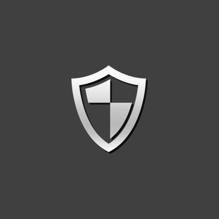 strong: Shield icon in metallic grey color style.Protection computer antivirus
