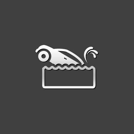 drowned: Drowned car icon in metallic grey color style. Automotive accident flood