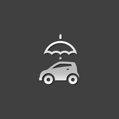 shiny car: Car and umbrella icon in metallic grey color style.Insurance protection