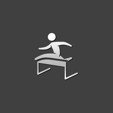 advantages: Hurdle run icon in metallic grey color style. Sport competition sprint