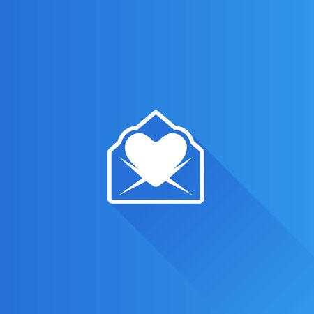 envelope: Envelope with heart icon in Metro user interface color style. Love romance gift