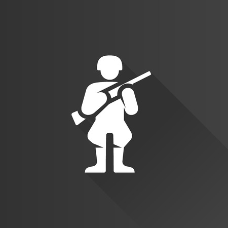 World War army icon in Metro user interface color style. Weapon riffle uniform Illustration