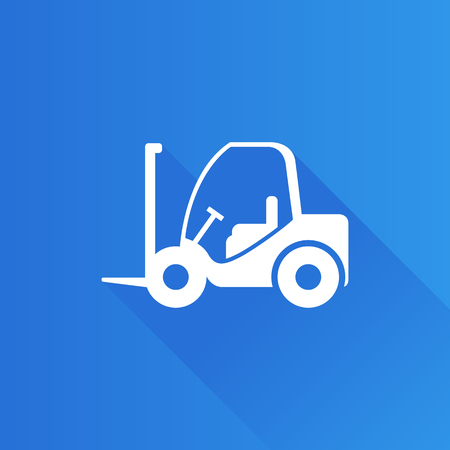 heavy: Forklift icon in Metro user interface color style. Industrial vehicle warehouse Illustration