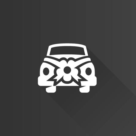 retro woman: Wedding car icon in Metro user interface color style.