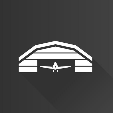 jet plane: Airplane hangar icon in Metro user interface color style. Aviation maintenance building
