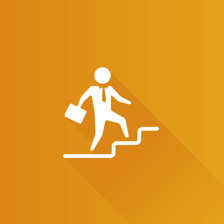 Businessman stairway icon in Metro user interface color style. Business office future Illustration