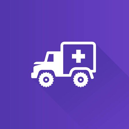 safety: Military ambulance icon in Metro user interface color style. Vintage truck vehicle