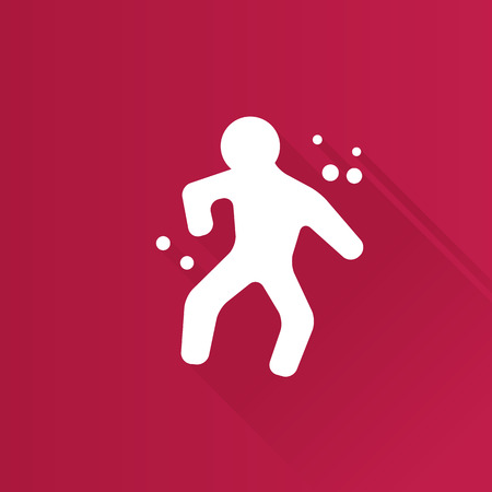 Crime victim icon in Metro user interface color style. Science investigation human body Illustration