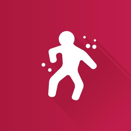 Verbrechenopfer-Symbol in Metro Benutzeroberfläche Farbstil. Wissenschaft Untersuchung menschlichen Körper Illustration