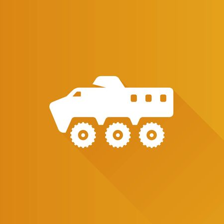 danger: Armored vehicle icon in Metro user interface color style. Military transportation