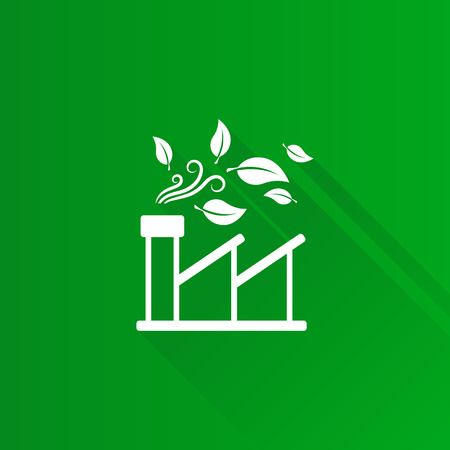 Green factory icon in Metro user interface color style. Industrial environment friendly