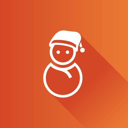 Snowman icon in Metro user interface color style. Snow winter December Illustration