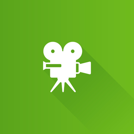 Movie camera icon in Metro user interface color style. Technology entertainment cinema recording