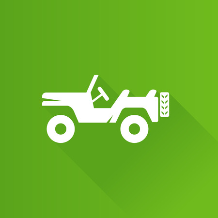car: Military vehicle icon in Metro user interface color style. Offroad country road Illustration