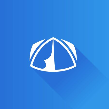 basurero: Icono de tienda de campaña en estilo de color de interfaz de usuario de Metro. Vacaciones en refugio