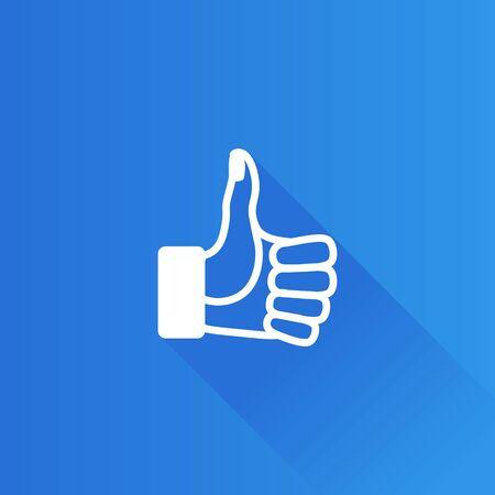 Icône du pouce vers le haut dans le style de couleur de l'interface utilisateur Metro. Statut de l'actualité des médias sociaux sur Internet Illustration