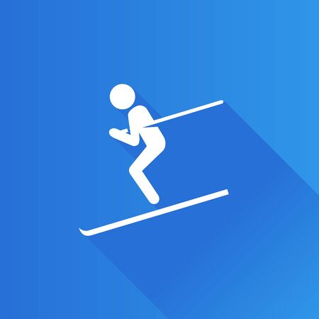 competitions: Ski icon in Metro user interface color style. Winter sport, mountain