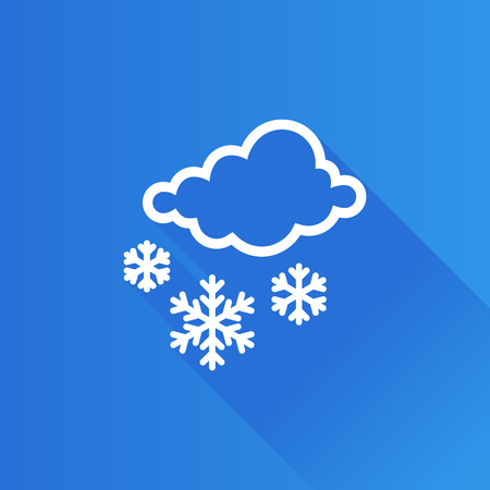 clouds: Weather overcast snowing icon in Metro user interface color style. snowflakes winter December Illustration