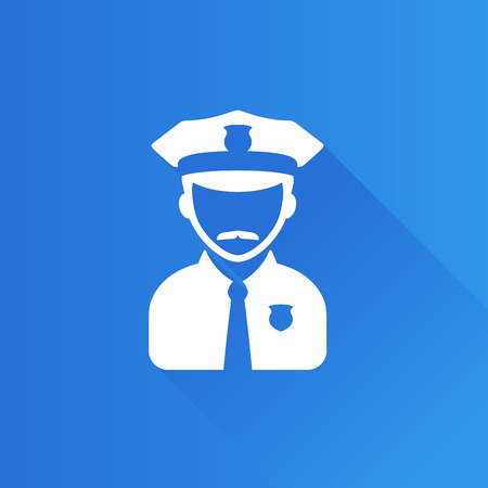 secure: Police avatar icon in Metro user interface color style. People service security Illustration