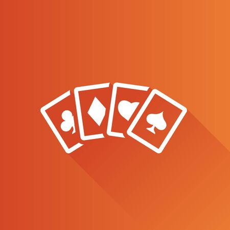 shadow: Playing cards icon in Metro user interface color style. Game gambling leisure