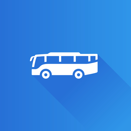 engine: Bus icon in Metro user interface color style. Transportation travel trip