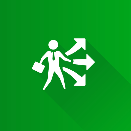 Businessman choice icon in Metro user interface color style. Business option career arrows Illustration