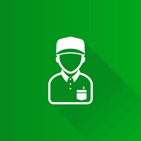 Delivery man icon in Metro user interface color style. Courier logistic mail packet