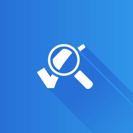 Magnifier check mark icon in Metro user interface color style. Zoom find locate Illustration