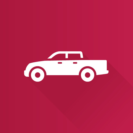 Car icon in Metro user interface color style. Truck double cabin
