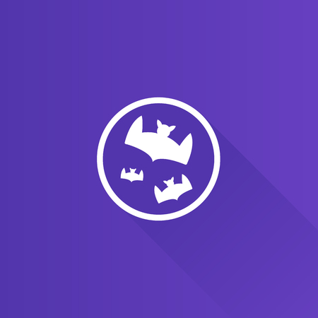 mobile phone icon: Bats and moon icon in Metro user interface color style. Animal season Halloween Illustration