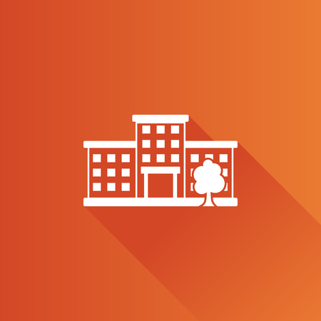 Building icon in Metro user interface color style. Education, school, college
