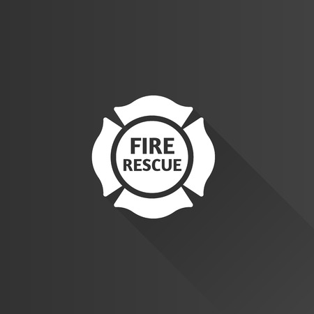 fireman: Firefighter emblem icon in Metro user interface color style. Service fireman coat of arms