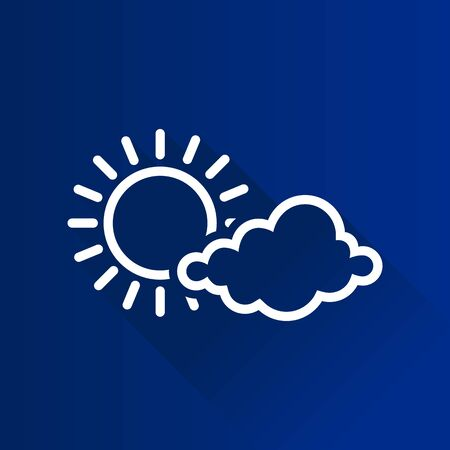 Weather forecast partly sunny icon in Metro user interface color style. Meteorology overcast