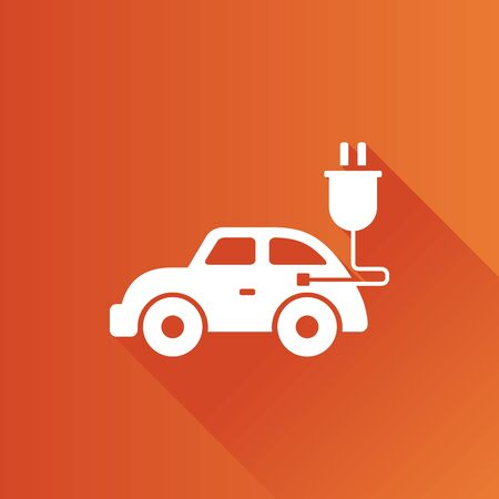 Electric car icon in Metro user interface color style. Vehicle environment Illustration