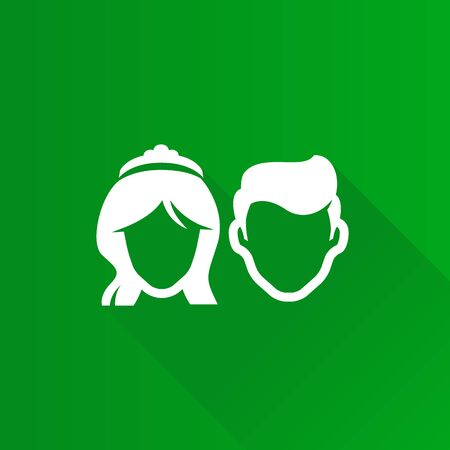 beautiful men: Bride and groom icon in Metro user interface color style. Married couple newlywed