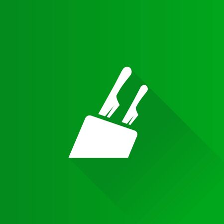 Knife holder icon in Metro user interface color style. Wooden block kitchen set Illustration