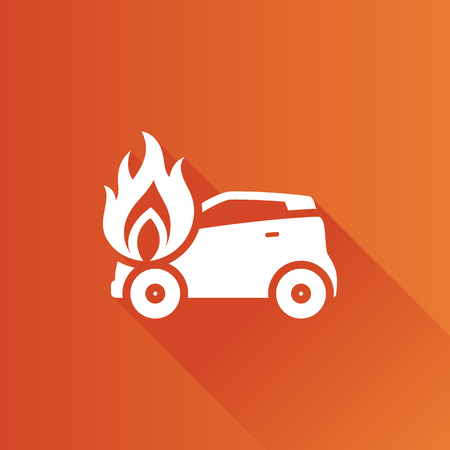 auto repair: Car on fire icon in Metro user interface color style. Automotive accident accident