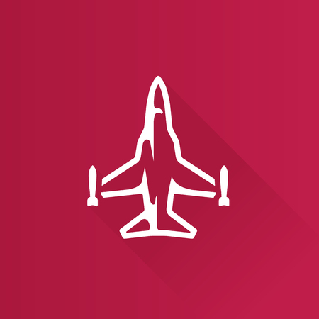 Fighter jet icon in Metro user interface color style. Aircraft military attack