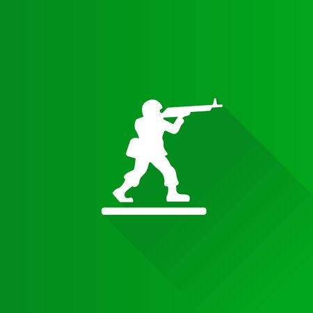 Toy soldier icon in Metro user interface color style. Kids children playing army