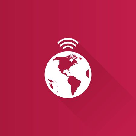internet user: Wireless world icon in Metro user interface color style. Internet communication connection